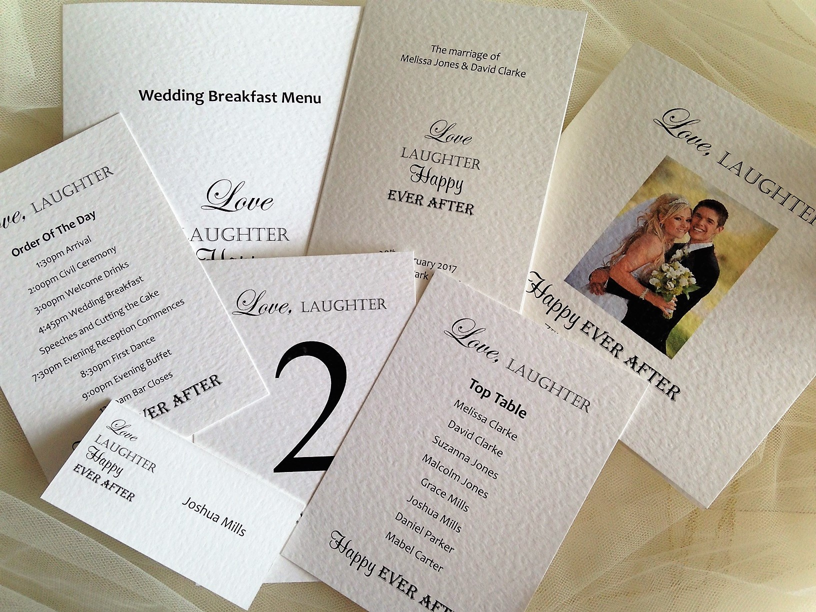 Love Laughter Happy Ever After Wedding Stationery Range