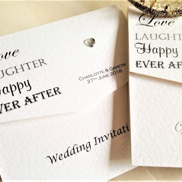 Love Laughter Tri Fold Wedding Invitations
