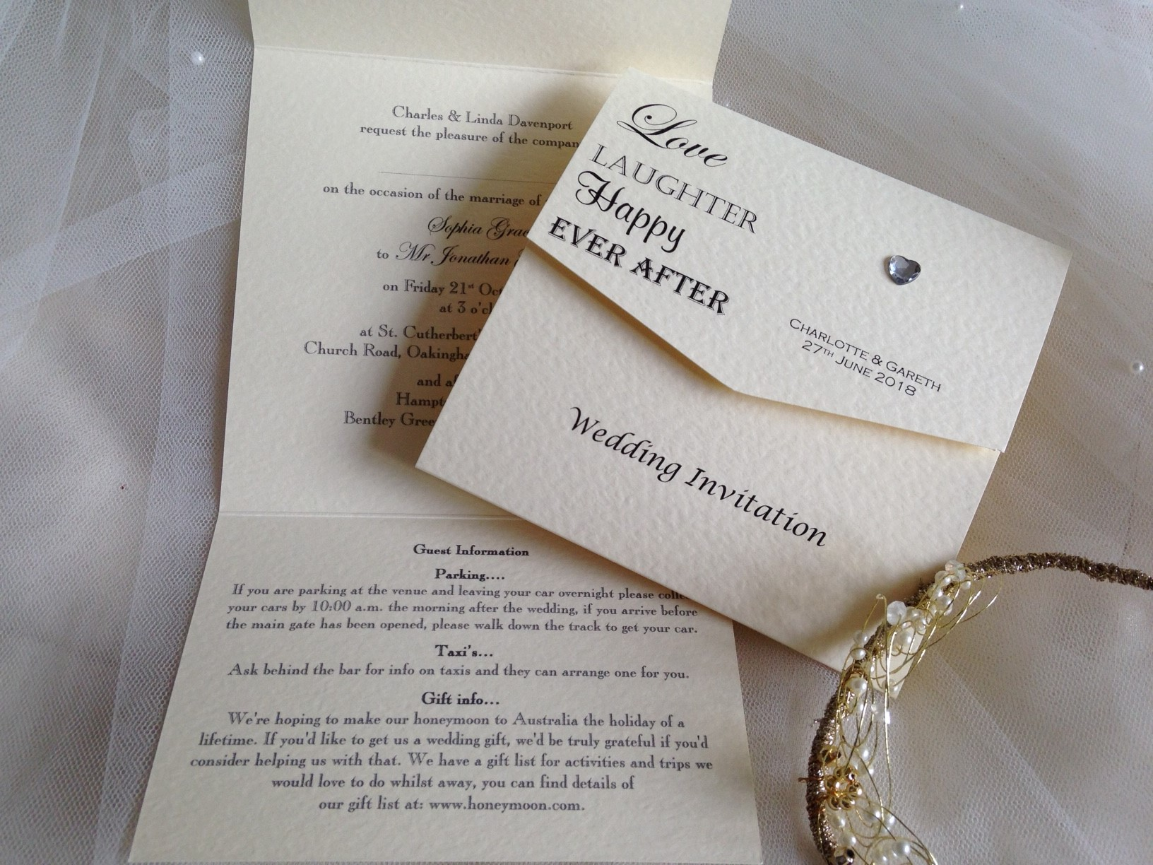 miranda wedding invitation suite with vintage luggage tag look