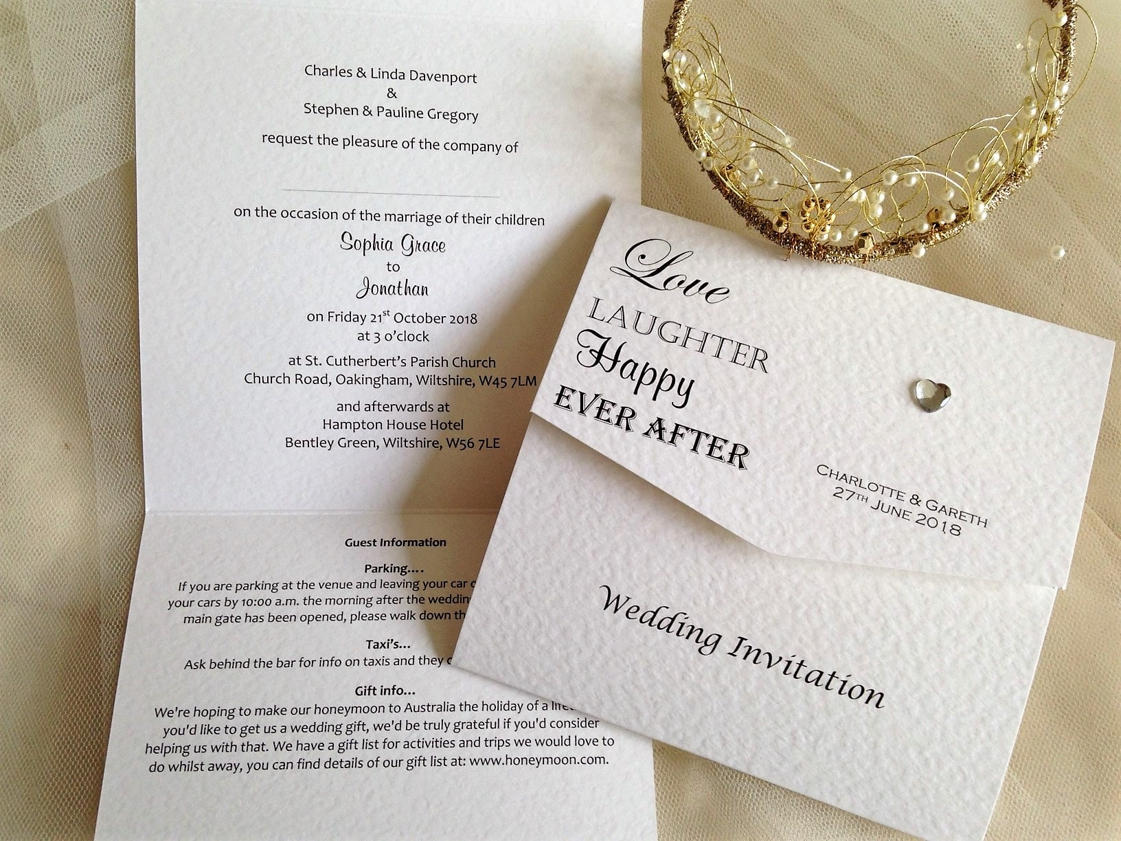 Fold Wedding Invitations: Love Laughter Tri Fold Wedding Invitations £1.50