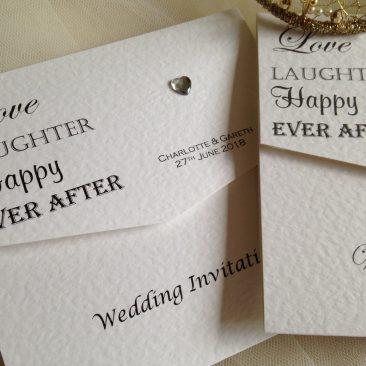 Love Laughter Tri Fold Wedding Invitations