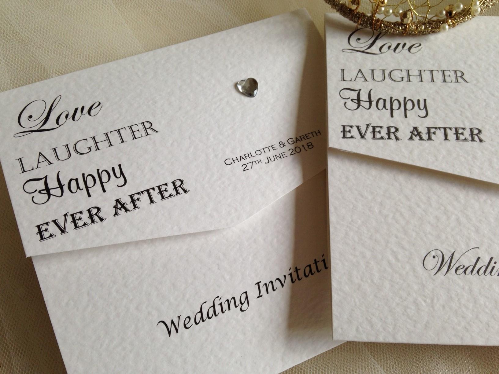 Love Laughter Tri Fold Wedding Invitations 150 Invites