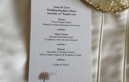 Love Tree A6 Personalised Menu Cards