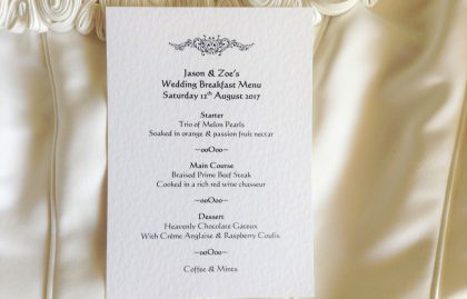 Motif A6 Personalised Menu Cards