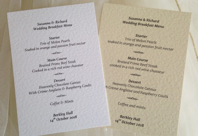 A6 Personalised Menu Cards