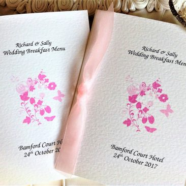 Pink Butterfly Large A5 Menu Booklets