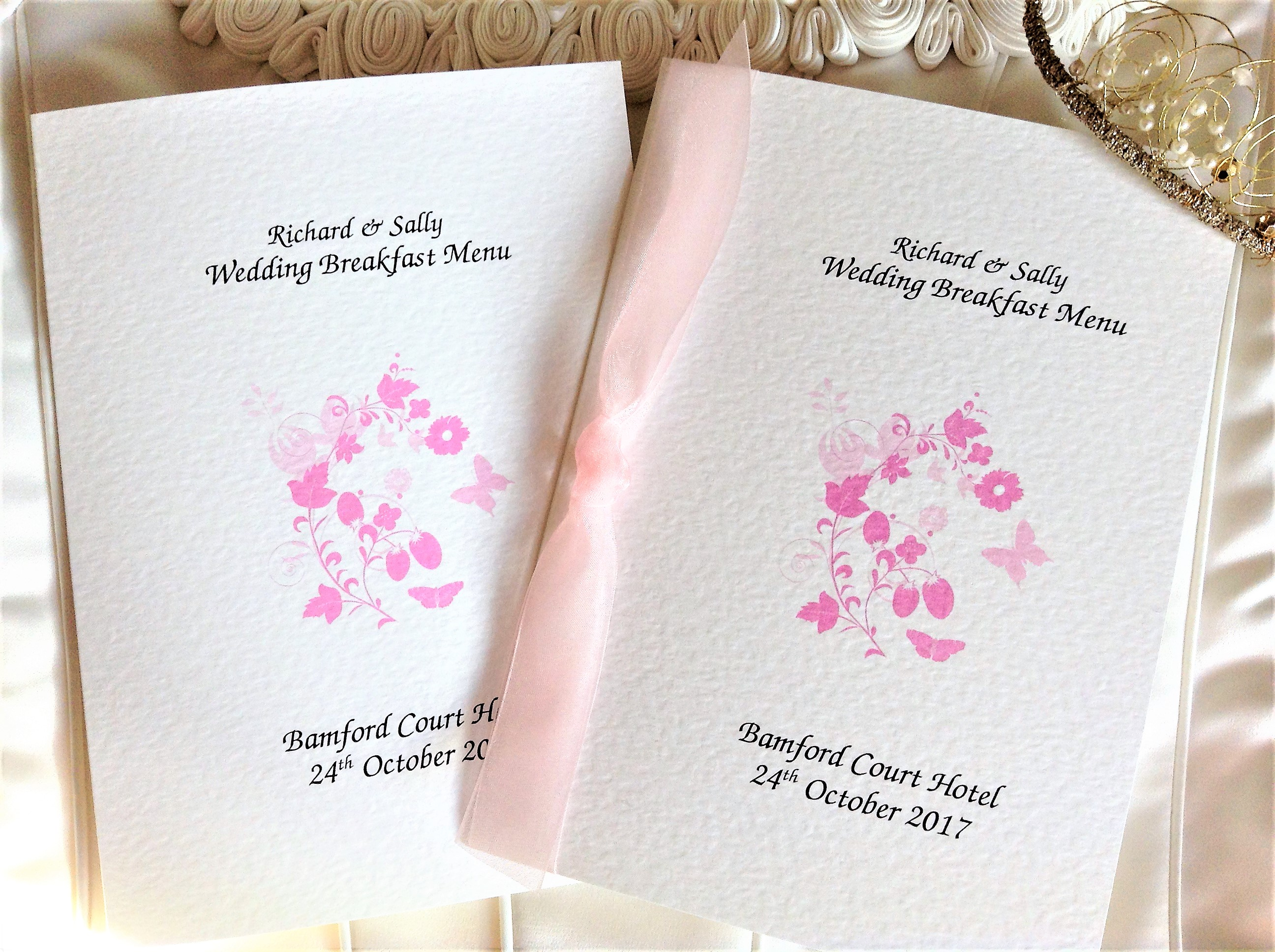 Pink Butterfly Menu Booklets