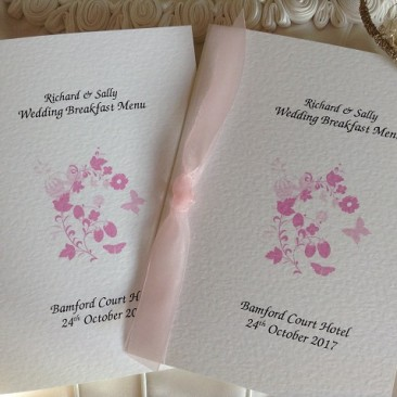 Pink Butterfly Small A6 Menu Booklets