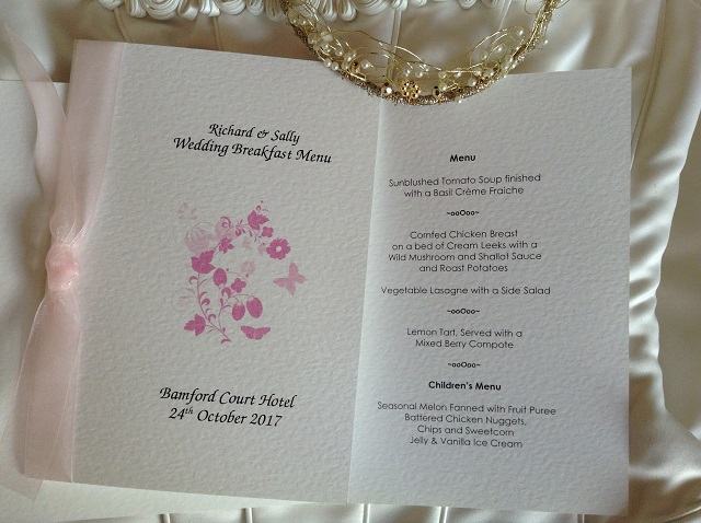 Pink Butterfly Wedding Breakfast Menus