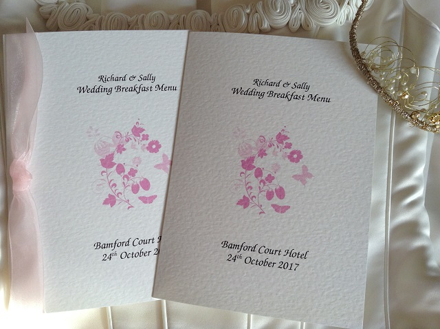 Pink Butterfly Wedding Menus
