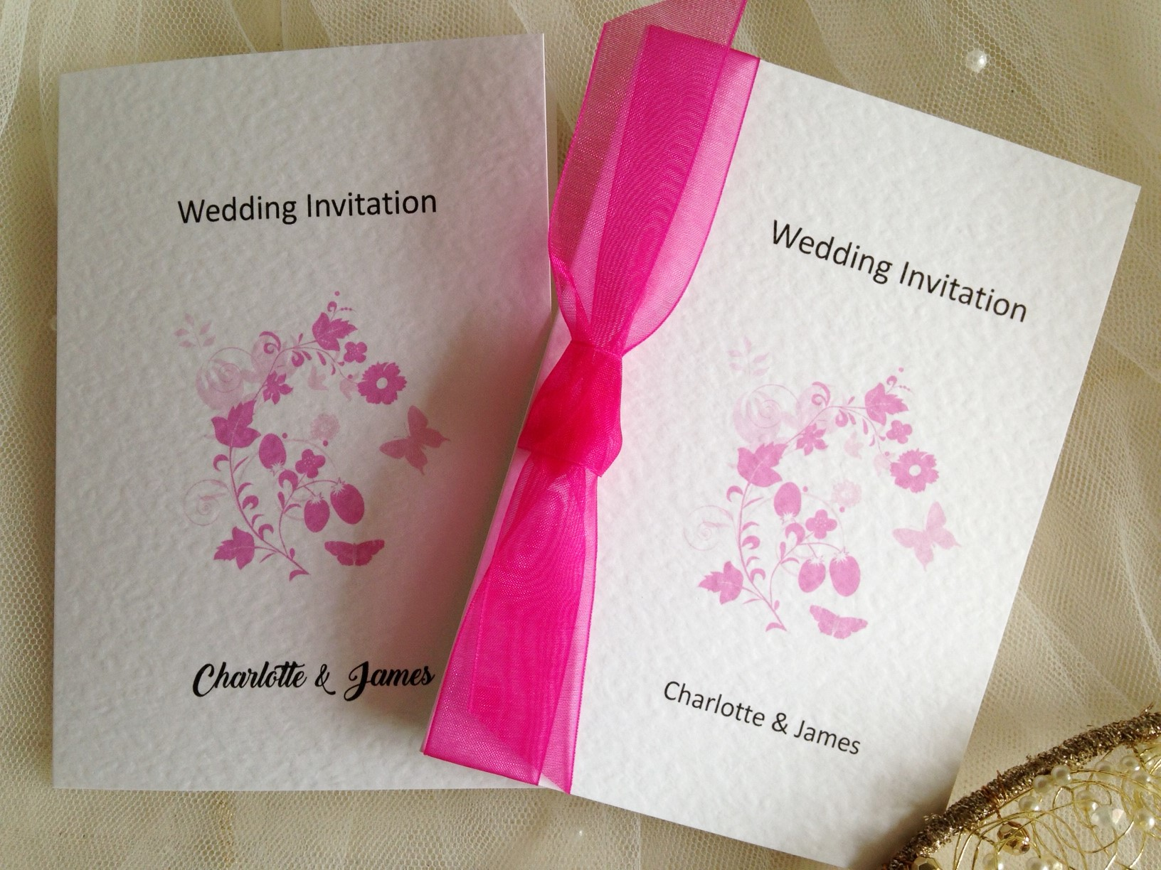 Pink Butterfly Wedding Invitations £1 each