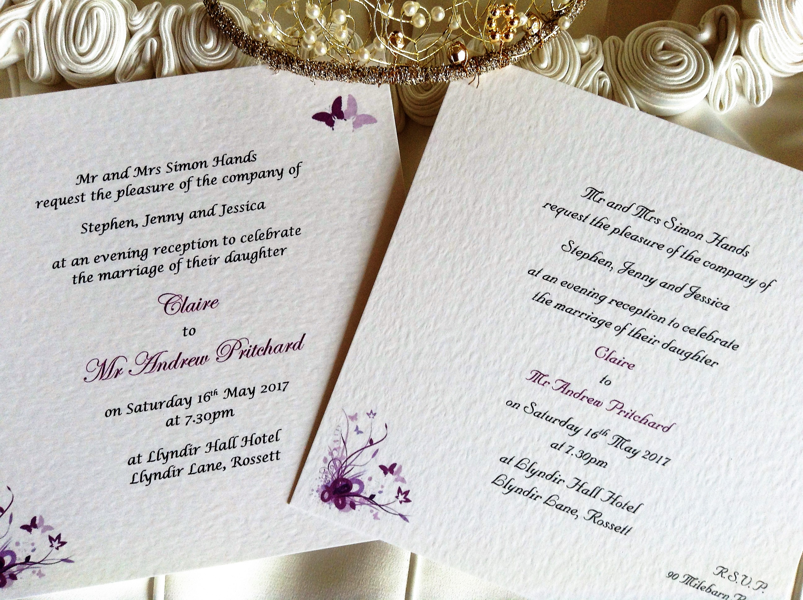Purple and Lilac Butterfly Square Flat Wedding Invitations