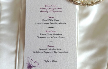 Purple & Lilac Butterfly A6 Personalised Menu Cards