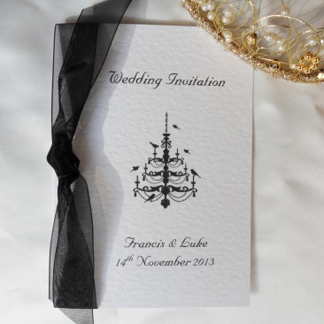 Chandelier Centre Fold Wedding Invitations