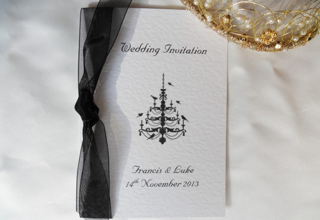 Chandelier Wedding Invitations: Chandelier Centre Fold Wedding Invitations