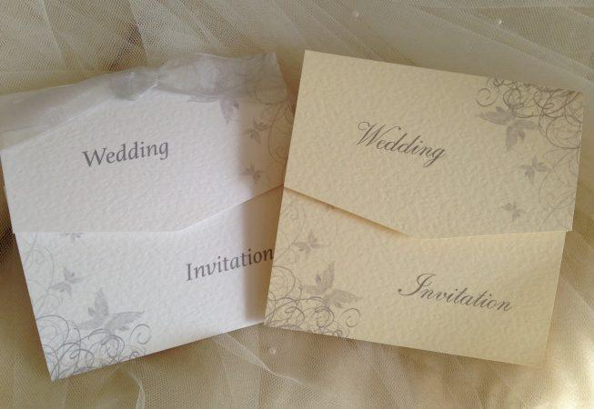 Silver/Grey Butterfly Tri Fold Wedding Invitations