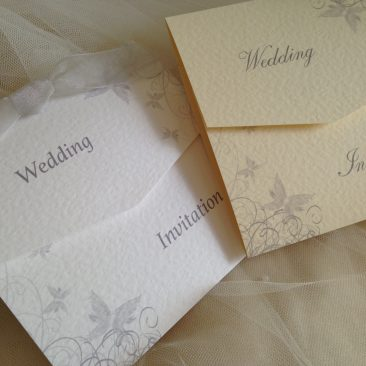 Silver/Grey Butterfly Tri Fold Wedding Invitations