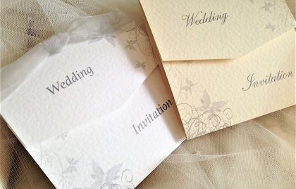 Silver Grey Butterfly Tri Fold Wedding Invitations
