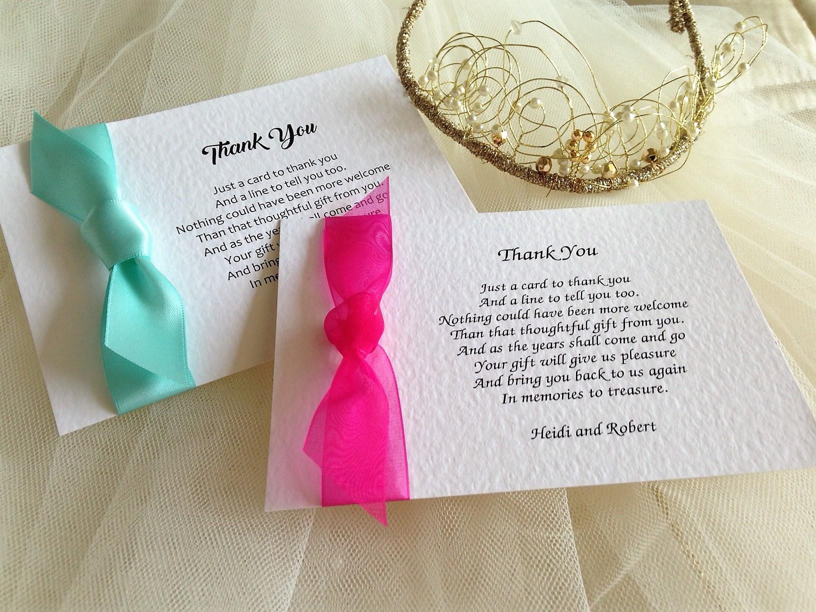 Single Sided Thank You Cards | Wedding Stationery