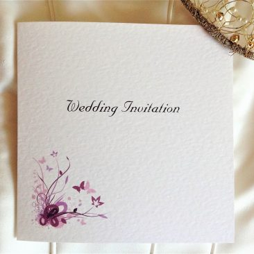 Purple and Lilac Butterfly Square Centre Fold Wedding Invitations
