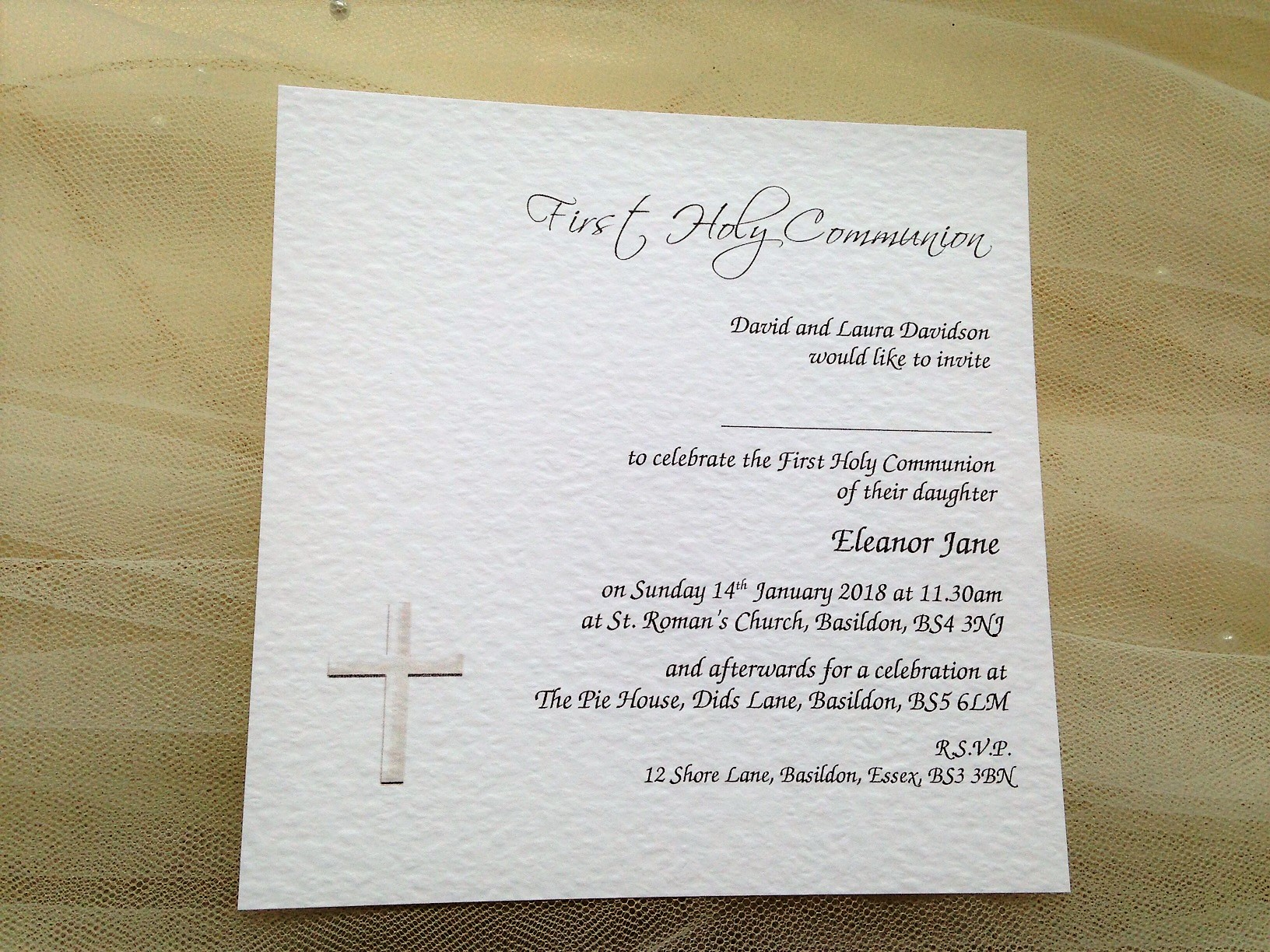 Square Christening Invitations - Font Style Chancery
