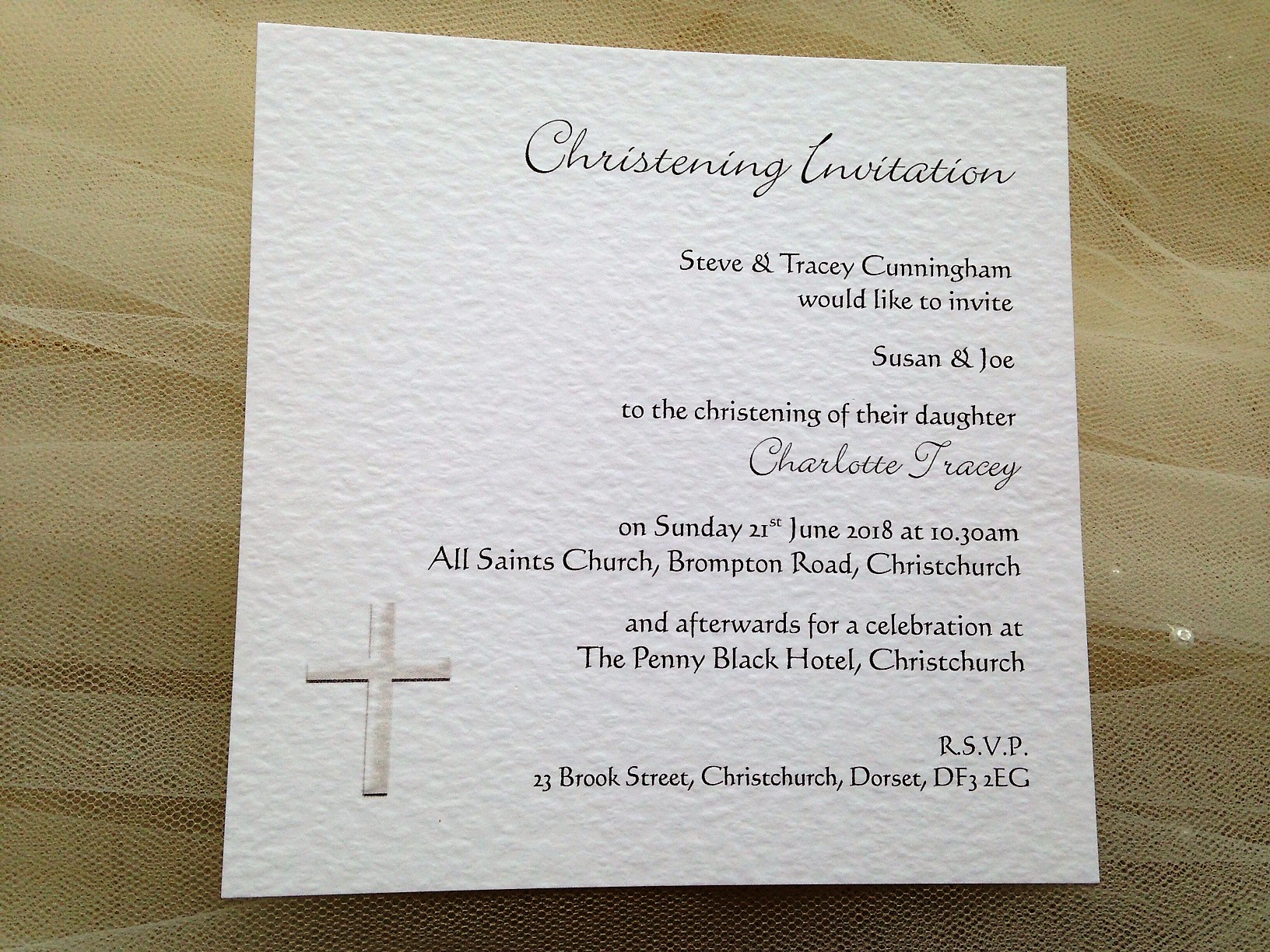 Square Christening Invitations. Font Styles Calligraph and Bickley Script