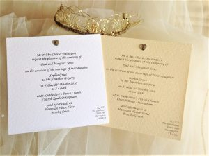 Diamante Heart Square Flat Wedding Invitations