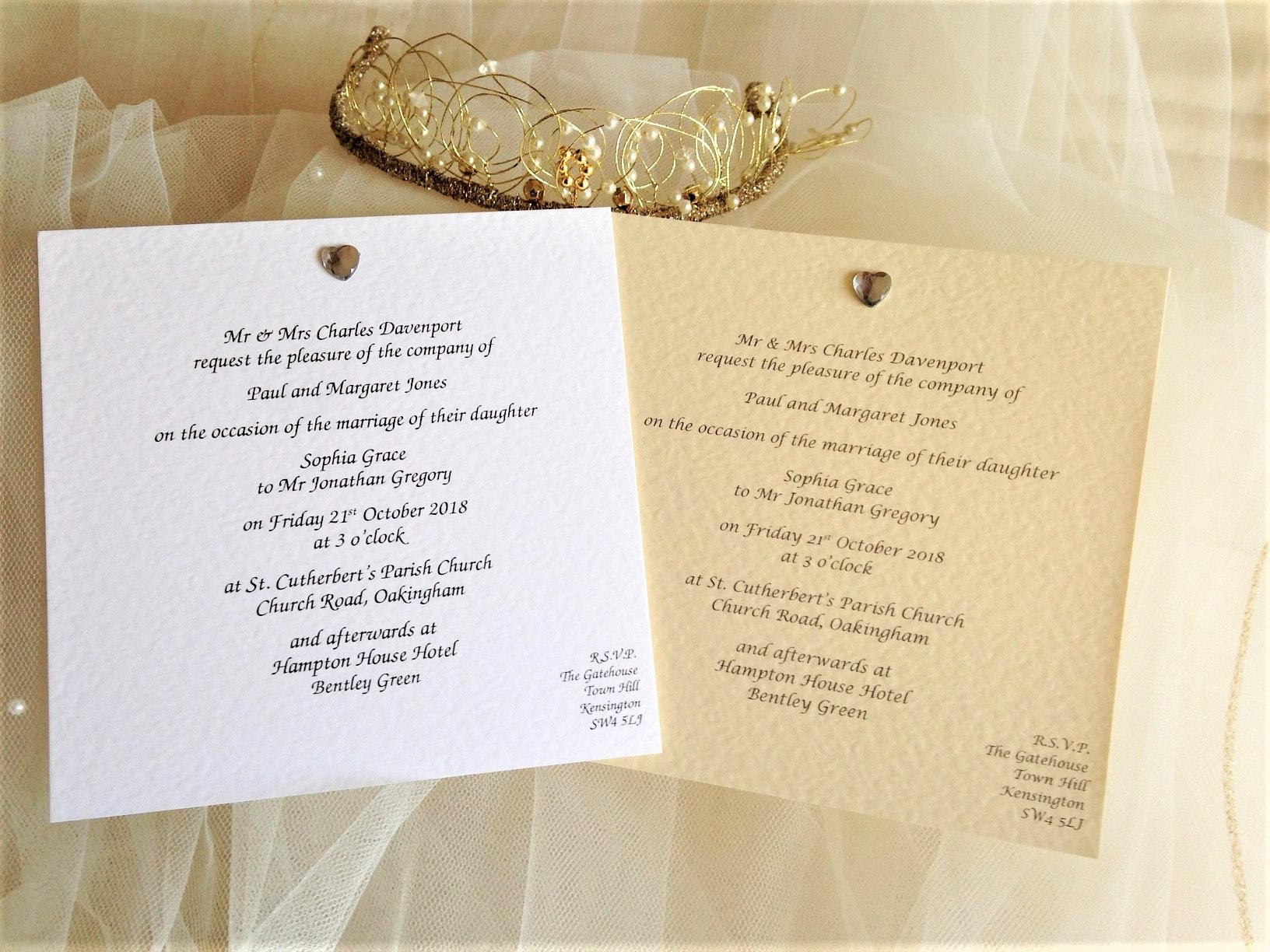 Heart Wedding Invitations Uk: Diamante Heart Square Flat Wedding Invitations