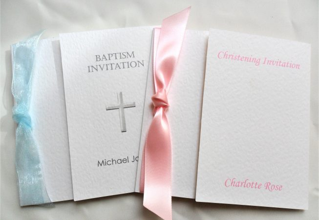 Square Gatefold Christening Invitations