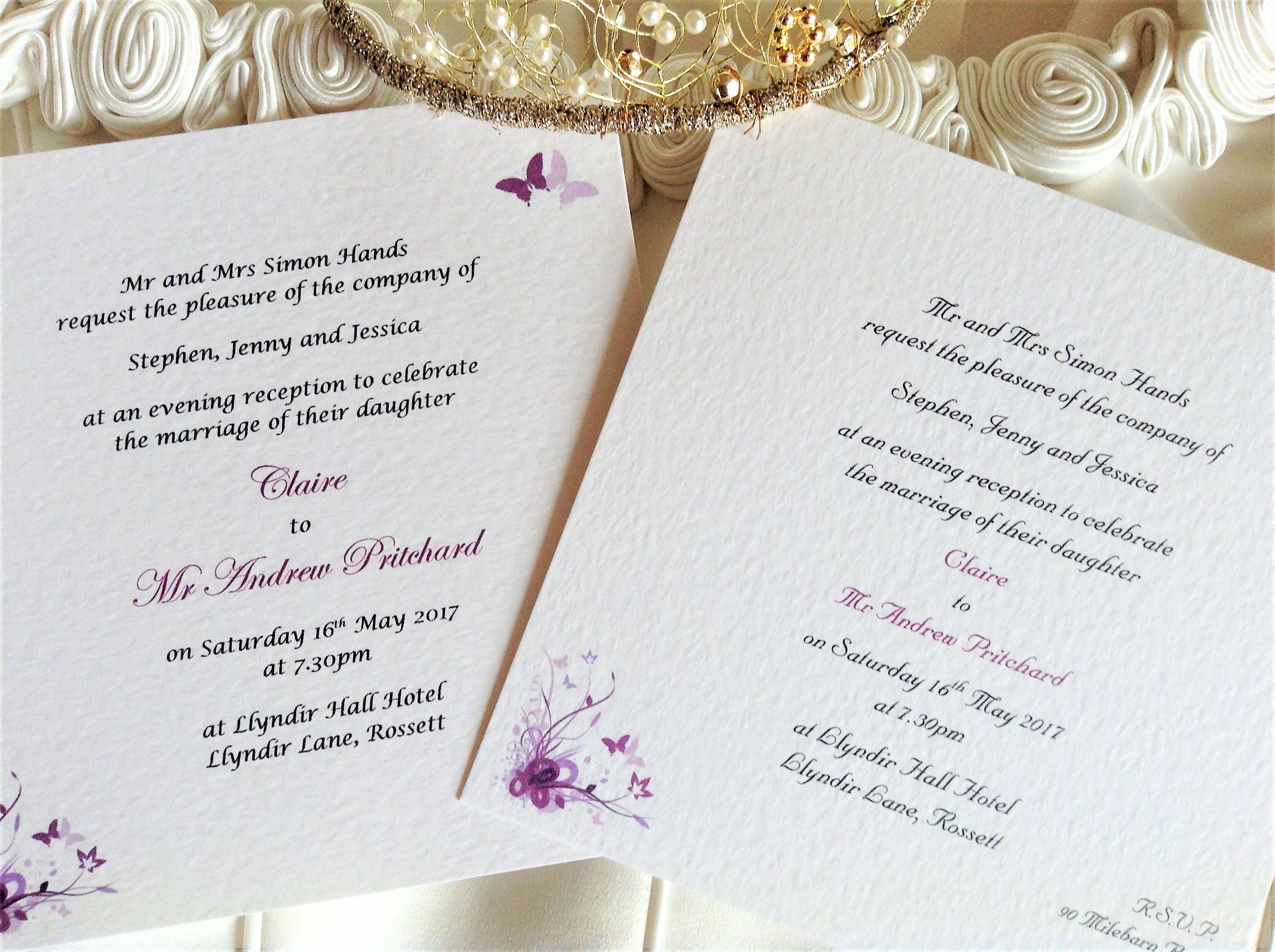 Purple and Lilac Butterfly Square Wedding Invitations
