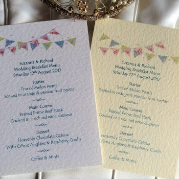 Summer Bunting A6 Personalised Menu Cards