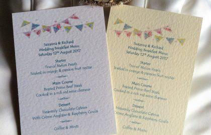 Summer Bunting A6 Personalised Menu Cards