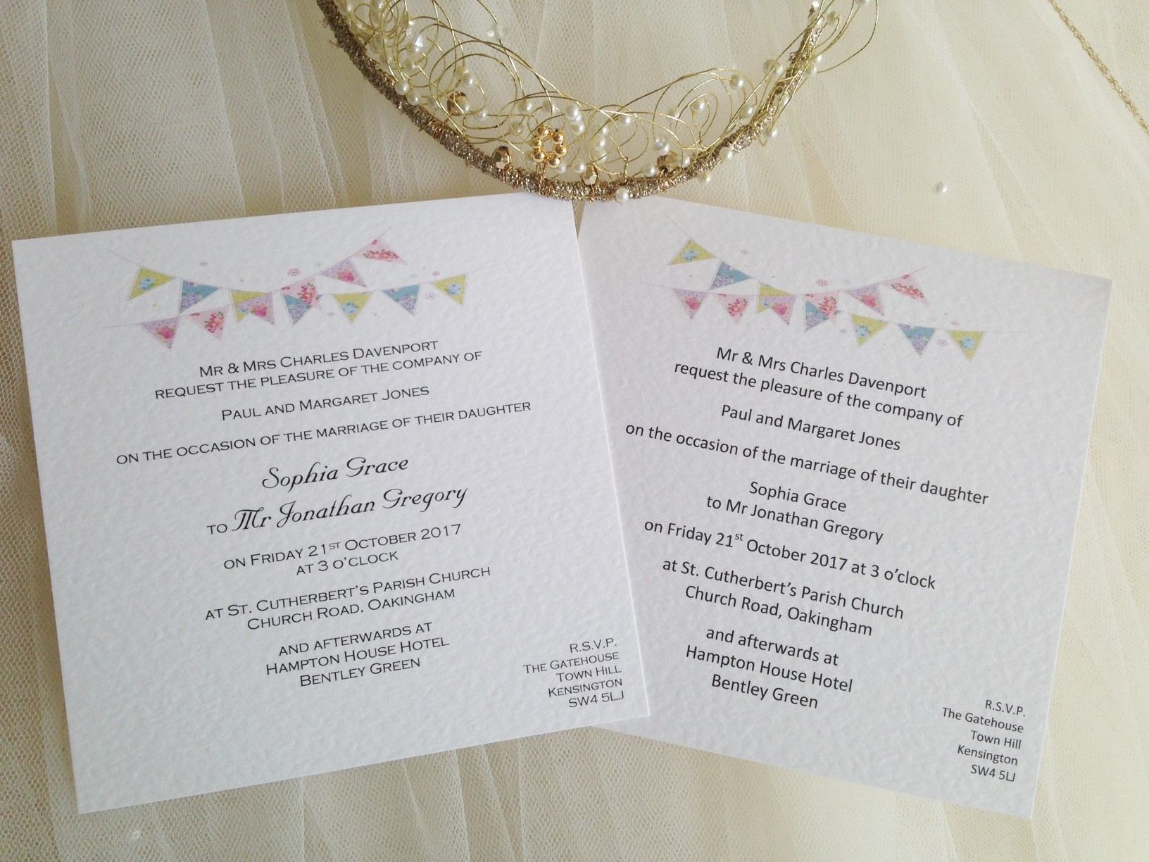 Summer Bunting Square Flat Wedding Invitations - Fonts: Invite on right - Calibri