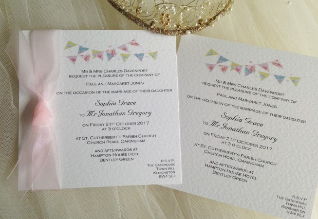 Summer Bunting Square Flat Wedding Invitations - Fonts: Copperplate and Marriage Script