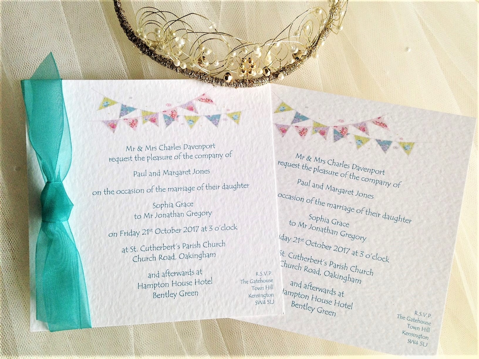 Summer Bunting Square Flat Wedding Invitations