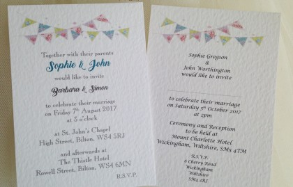 Summer Bunting Postcard Wedding Invitations