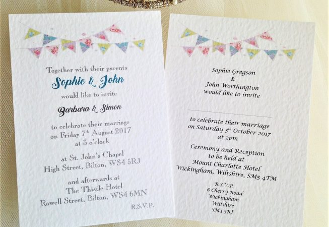 Summer Bunting Postcard Wedding Invitations