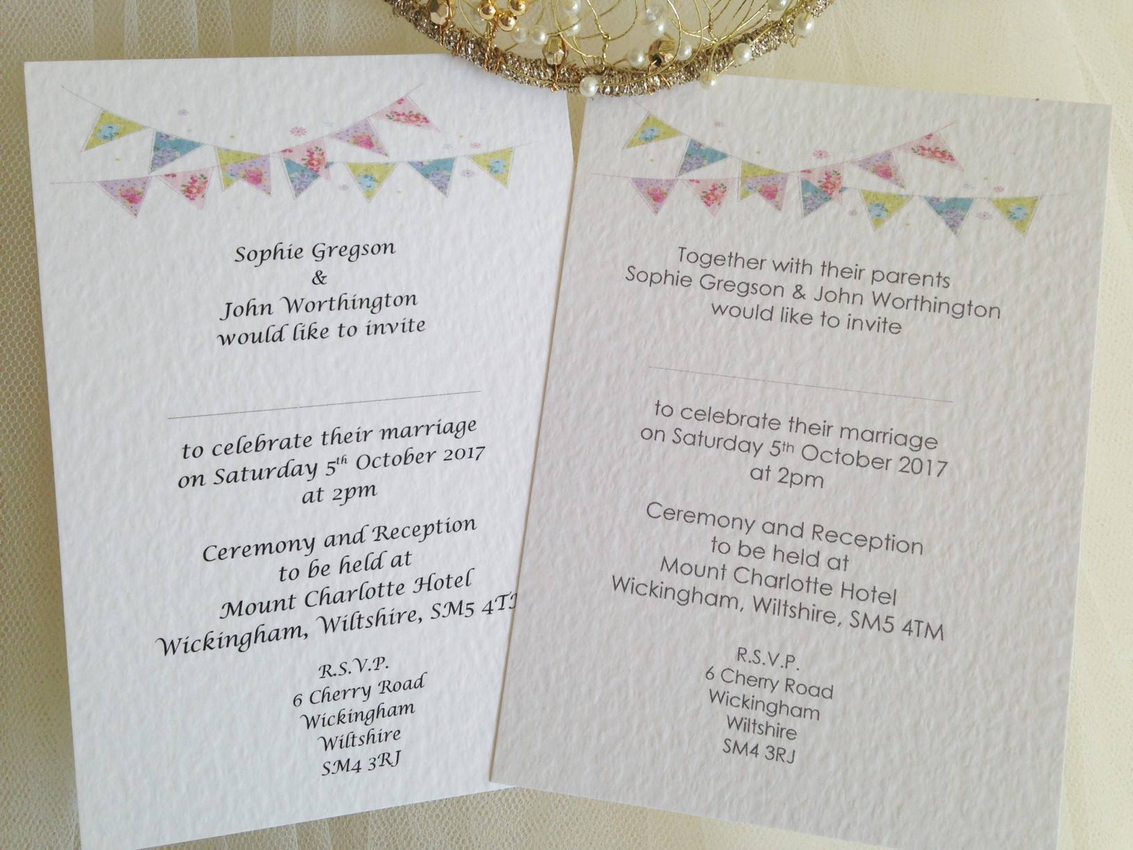 Summer Bunting Postcard Wedding Invitations - Fonts: Lucida Calligraphy & Century Gothic