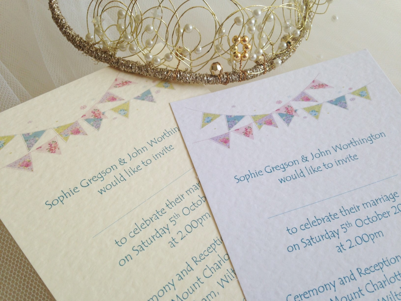 Summer Bunting Postcard Wedding Invitations - Fonts: Tempus Sans