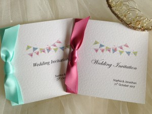 Summer Bunting Square Centre Fold Wedding Invitations