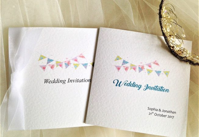 Summer Bunting Square Centre Fold Wedding Invitations