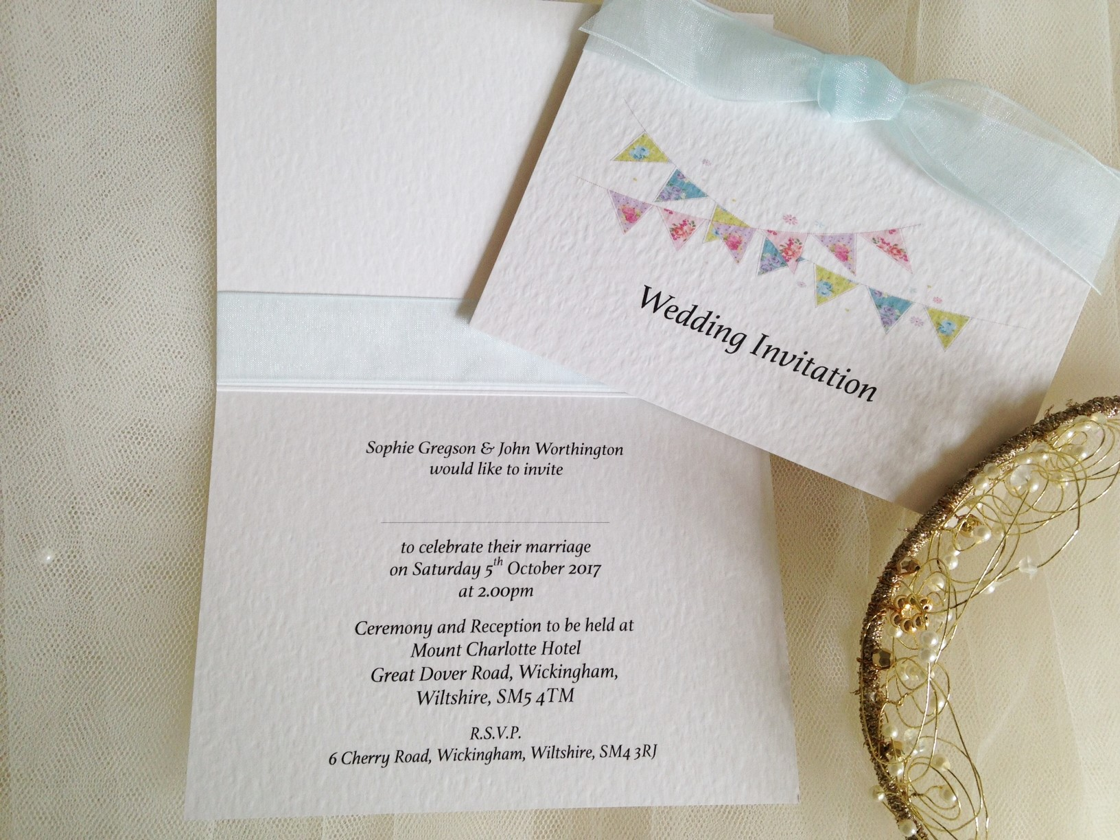 Summer Bunting Top Fold Wedding Invitations - Athelas Font
