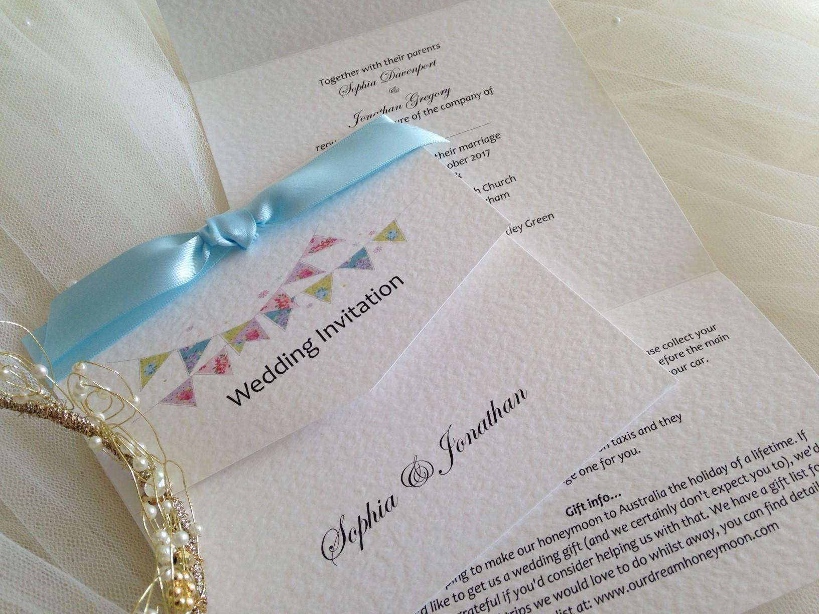 Summer Wedding Invitations: Summer Bunting Tri Fold Wedding Invitations