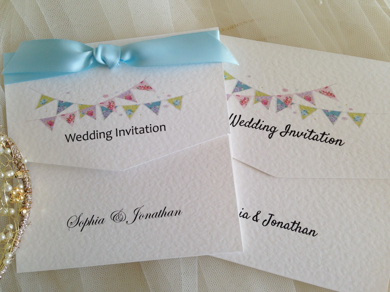 Summer Bunting Tri Fold Wedding Invitations