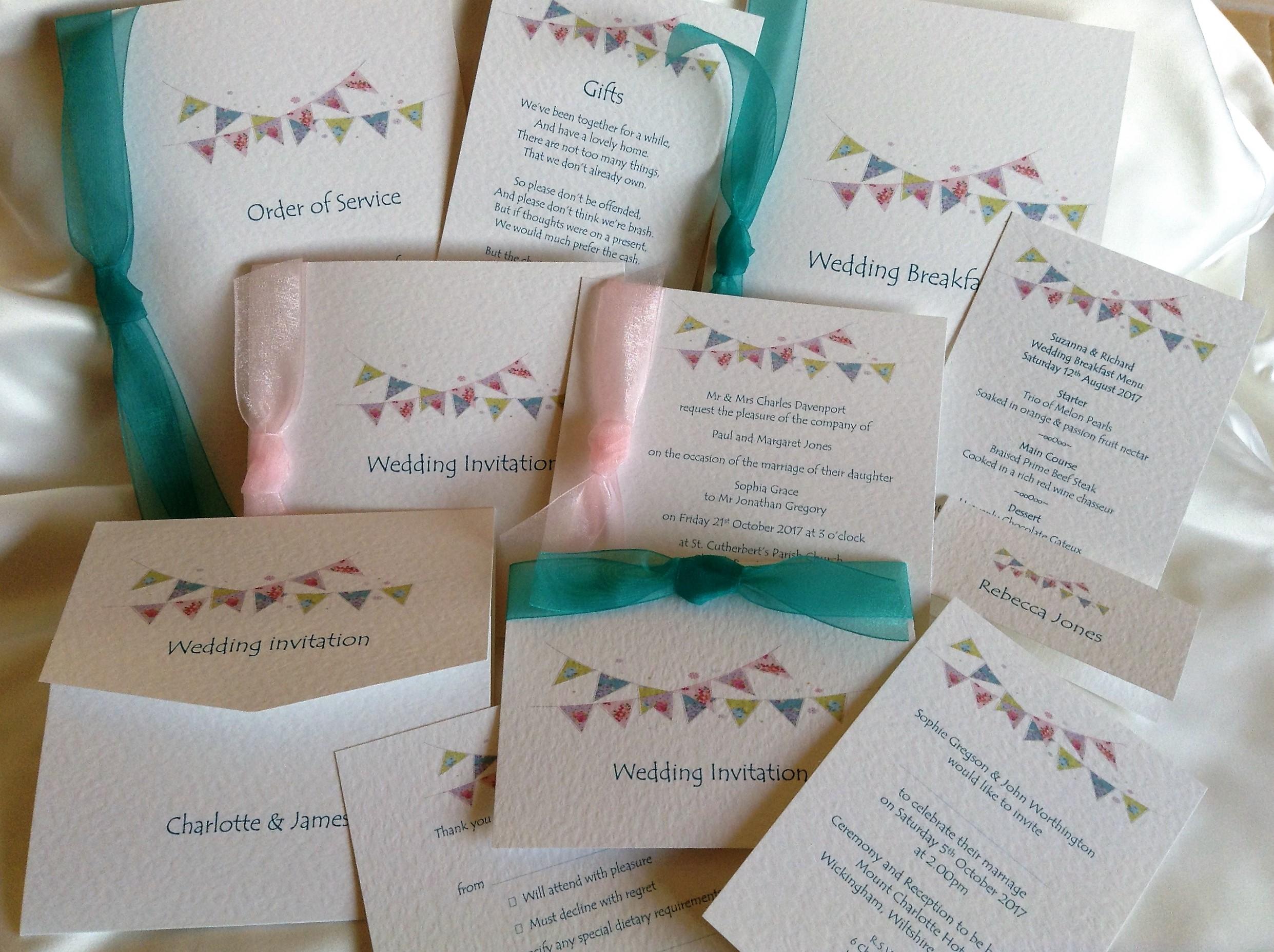 Summer Bunting Wedding Stationery Range