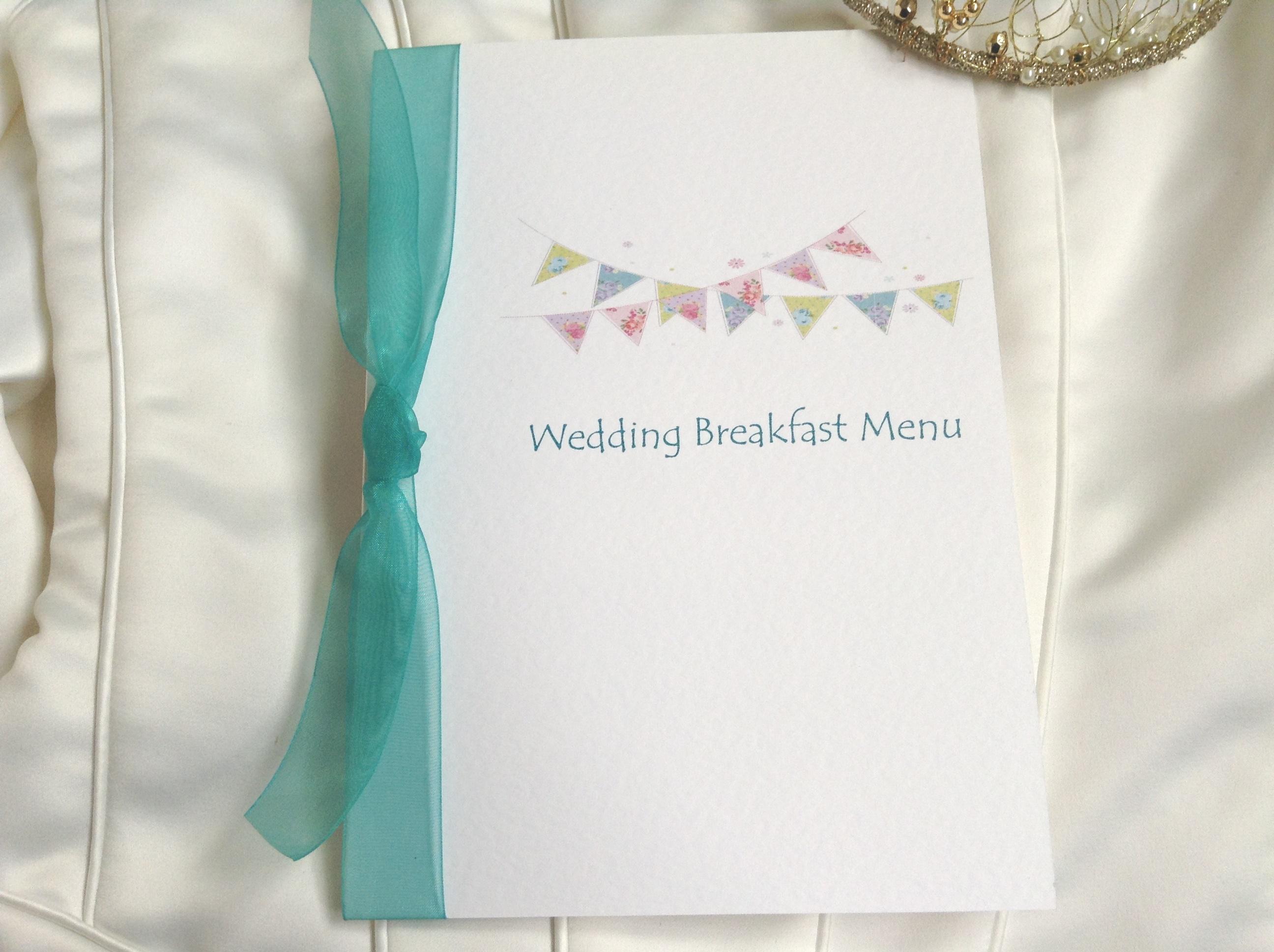 Summer Bunting Wedding Breakfast Menus with ribbon