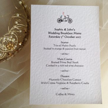 Tandem Bike A6 Personalised Menu Cards