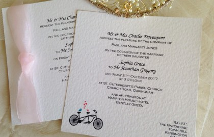 Tandem Bike Flat Square Wedding Invitations