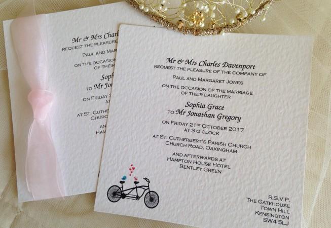 Tandem Bike Flat Square Wedding Invitations
