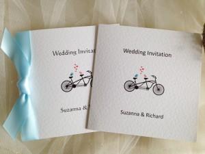 Tandem Bike Square Centre Fold Wedding Invitations